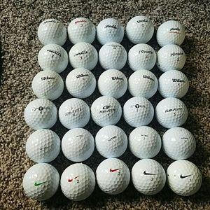 30 used golf balls